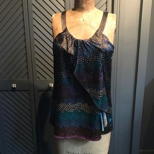 Aiko silky cami top with ruffle